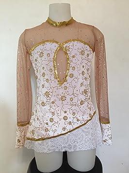 CREATJUSTO Justaucorps GR modele Fanny Blanc Or  Amazon.fr  Sports ... 1191c9cee2d