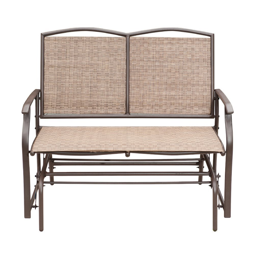 SunLife Outdoor Swing Glider 2 Person, Patio Furniture Loveseat Bench Rocking Chair with Brown Rattan Wicker Seatback by SunLife