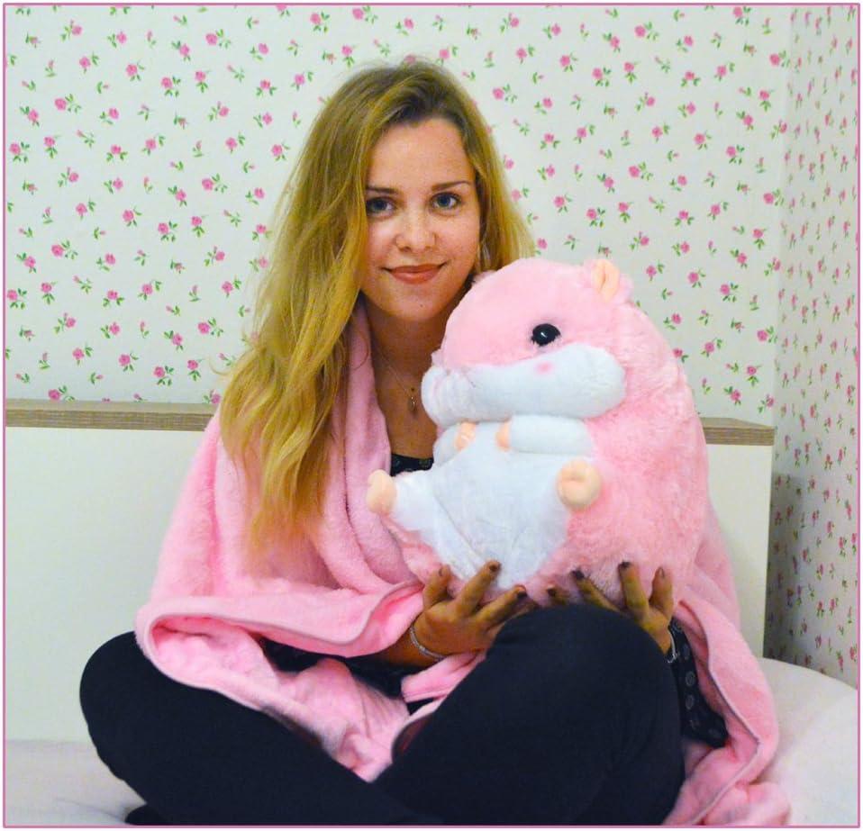 Rose TE-Trend 2 en 1 Baby Enfants Animal en Peluche Hamster 40cm avec Polaire en Ventre de Kuscheltieres en 6 Couleurs