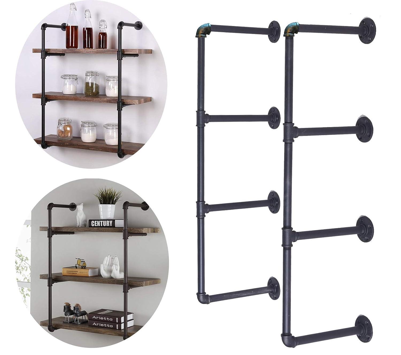 LOKKHAN DIY Kit de Estante Industrial para tuber/ías Color Negro Estante Abierto para tuber/ías Metal Hierro Fundido estanter/ía para Colgar en la Pared 4 Tiers Negro