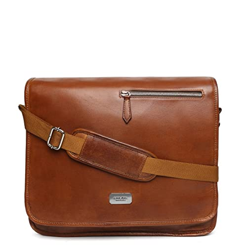 cf18bfb70a Brune men tan leather flapover messenger bag: Amazon.in: Shoes ...