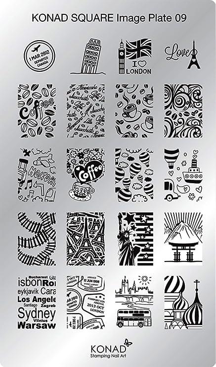 c 9 Placa de Diseños Rectangular Konad Original. Plantilla para uñas Square Image Plate Konad España.: Amazon.es: Belleza