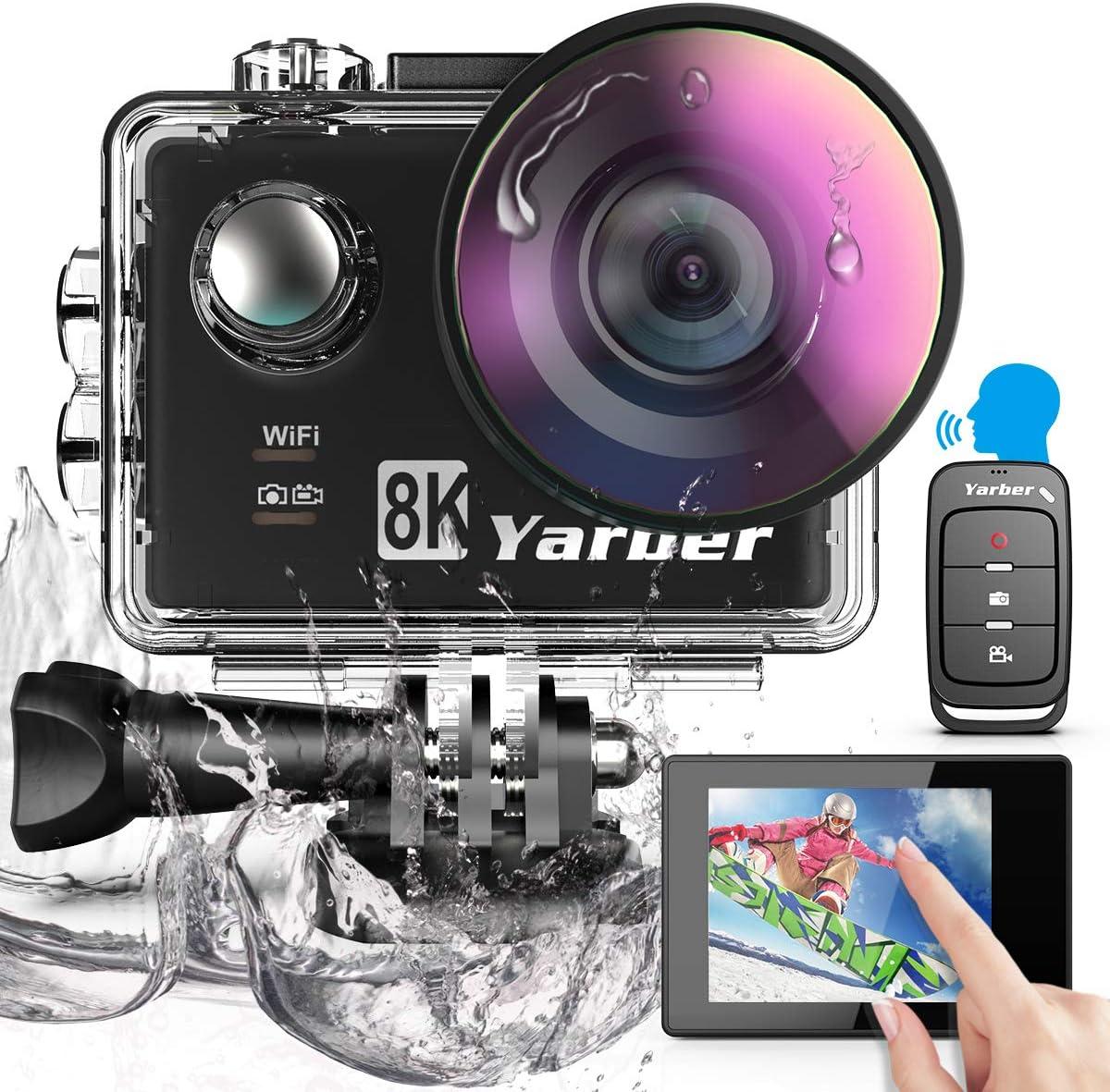 Yarber Cámara Deportiva WiFi 8K 20MP Ultra HD Cámara de Acción EIS 8X Zoom 40M Camara Acuática Camaras Acción Sumergible con 2 Baterías, Pantalla Táctil Control de Voz Anti-temblor Lapso de Tiempo
