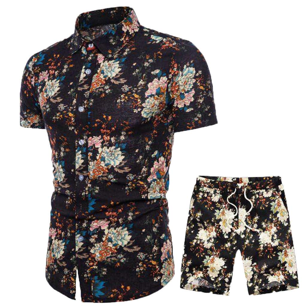 Outfits for Men, F_Gotal Men's Fashion Summer New Cotton Short Sleeve Shirts and Shorts Comfy Two Pieces Tracksuits Black
