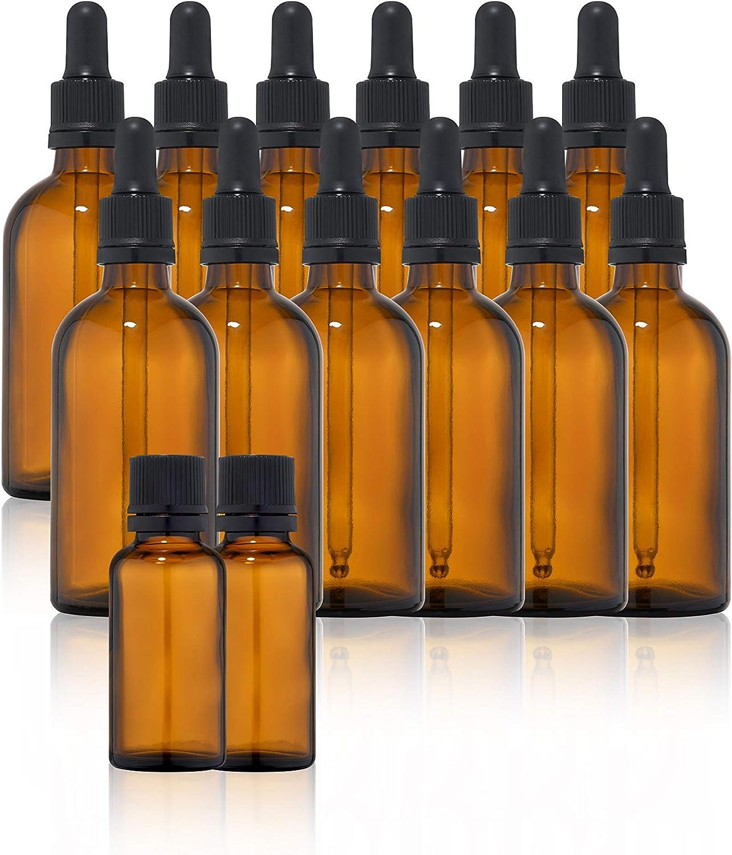 12 botellas cuentagotas de cristal de 30 ml + 2 botellas de ámbar de 30 ml – Incluye accesorios
