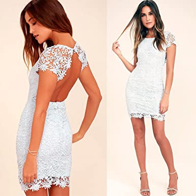 359fdba65 Sunglory Women Dresses Backless Floral Embroidery Lace Short Petite Dresses (M,White)