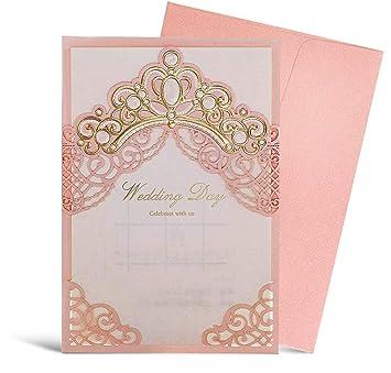 Amazon Com Wishmade Pink Laser Cut Wedding Invitation Card With