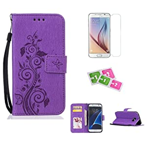Samsung Galaxy S7 Case, JGNTJLS [New Style for SS/AW] [with Free Tempered Glass Screen Protector and Cleaning Paper] Simple, Stylish, Embossing-Pattern(Pure Candy-Colorful, Artificial-Wrinkle Design), Photos Frame Additional(Transparent HD Setting Slot), PU Leather-Shell(Silky Touch Fully), Internal-TPU(Soft and Smooth), [Small Black Lanyard Strap] Filp Wallet Card Slot Stand Cover Case Fit For Samsung Galaxy S7 5.1