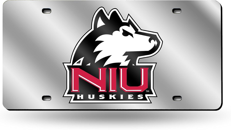 NCAA Rico Industries  Laser Inlaid Metal License Plate Tag Northern Illinois Huskies