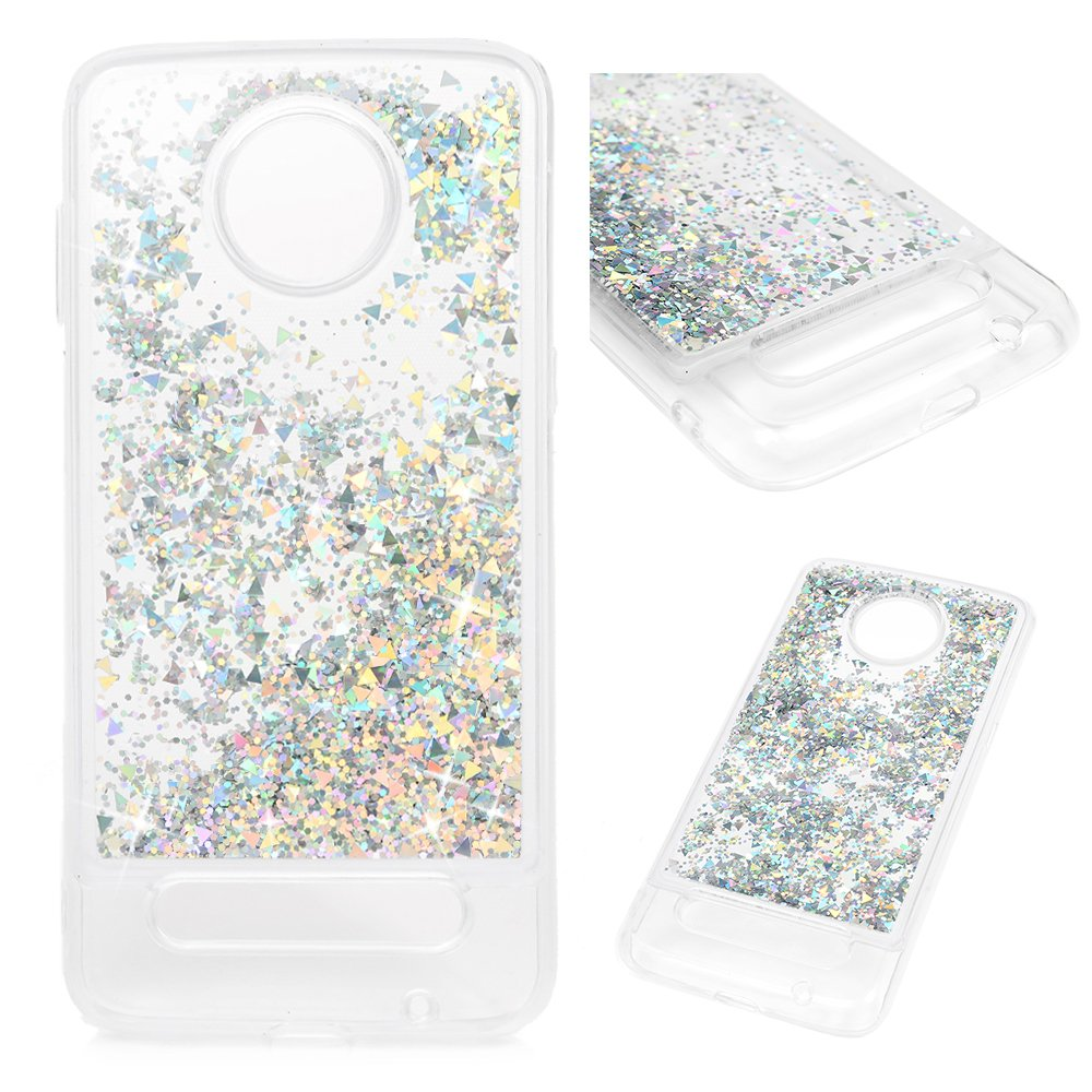 Moto Z3 Play Case, Liquid Case Quicksand Case Flowing Moving Liquid Bling Glitter Shiny Love Hearts Soft Flexible Shockproof TPU Back Shell Slim Fit Protective Cover Case for Motorola Moto Z3 Play
