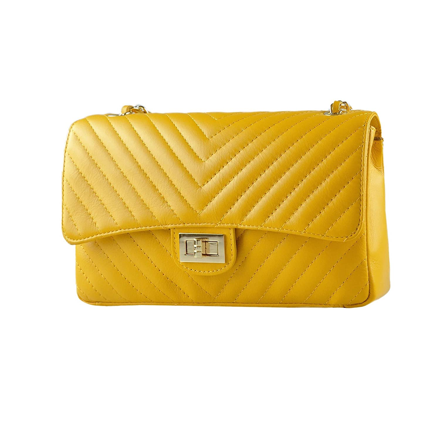 53aad40e78f SINDY Italian quilted cross body shoulder clutch purse metal and leather  chain soft smooth chevron quilted leather (medium GOLD yellow)   Amazon.co.uk  Shoes ...