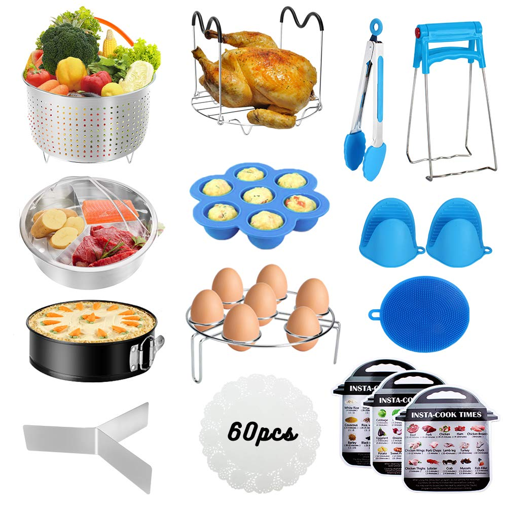 Accessories for Instant Pot,Accessories Compatible with 5/6/8Qt Instant Pot - 60 Pcs Parchment Papers,2 Steamer Baskets,Non-stick Springform Pan,Egg Rack,Egg Bites Mold,Kitchen Tong,Dish Plate Clip by Alpacasso