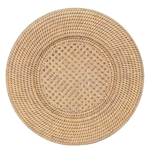 Christmas Tablescape Decor - Round natural white rattan dinner plate charger by Entertaining with Caspari