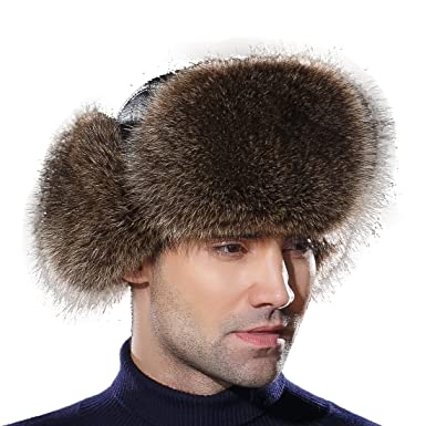 8725a1b62ad URSFUR Winter Mens Trapper Hat Real Leather and Raccoon Fur Russian Ushanka  Cap