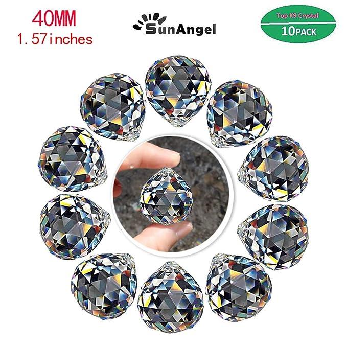 SunAngel Top k9 Faceted Prism Crystal Ball Sun Catcher Rainbow Pendants Maker,Chandelier Drops Crystal,Prism Windows,Decor Crystal Pendant, Hanging Crystals Prisms (40MM Prism Balls-10Pack)
