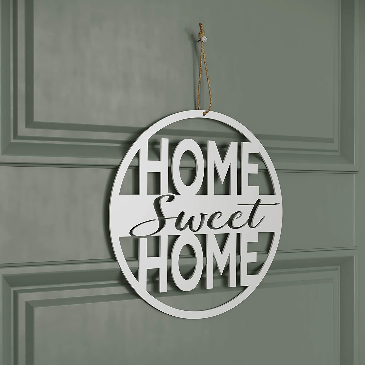 "American Maker 'Home Sweet Home' Steel Wall Art Decor, Laser Cut Metal Sign Decoration, Hanging Word Plaque for Family Room, Entryway or Kitchen, Made in the USA, White, 11.5""D"