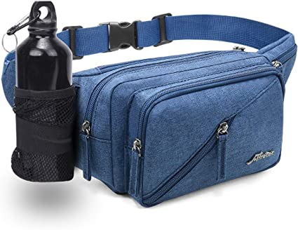 Fanny Packs for Women and Men Oxford Waterproof Waist Pack for Outdoor Running Hiking Workout Gifts for Men Blue