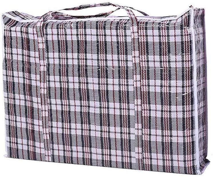 MICHAELA BLAKE Useful Storage Product Extra Large Checkered Pattern Plastic Bag Durable Storage Laundry Shopping Bag With Zipper And Handles Black