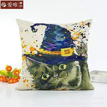 BSHOP Cojines Almohada de impresión Digital Halloween Gato Negro Impresión Digital Almohada Almohada Almohada Almohada Cojín Cojín y Ventas directas del ...