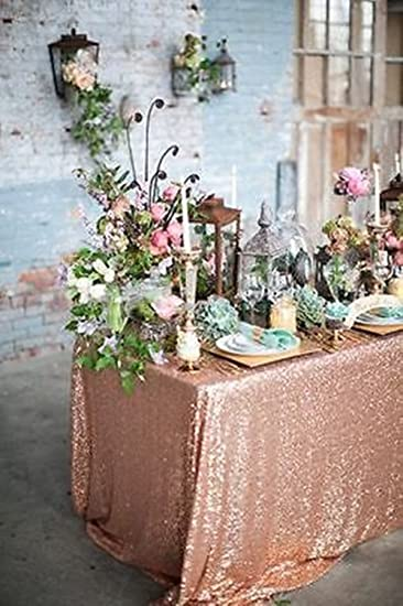 Nice 72u0026quot;x72u0026quot; Sparkly Rose Gold Square Sequins Wedding Tablecloth,  Sparkly Overlays Table Cloth