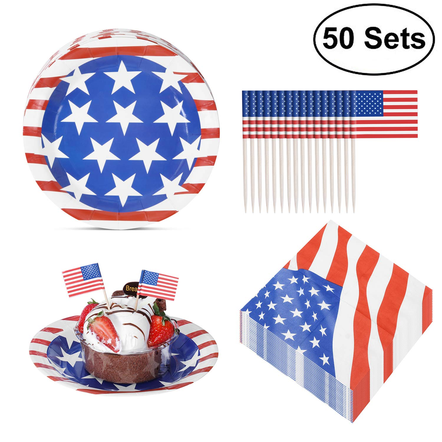 JOYSEAS Party Disposable Paper Plates Pack with 50 Plates, 50 Napkins and 50 Mini American Flags for Veterans Day, Labor Day, Flag Day