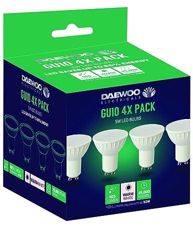 Daewoo bombillas LED, GU10, 40 W, luz blanca cálida