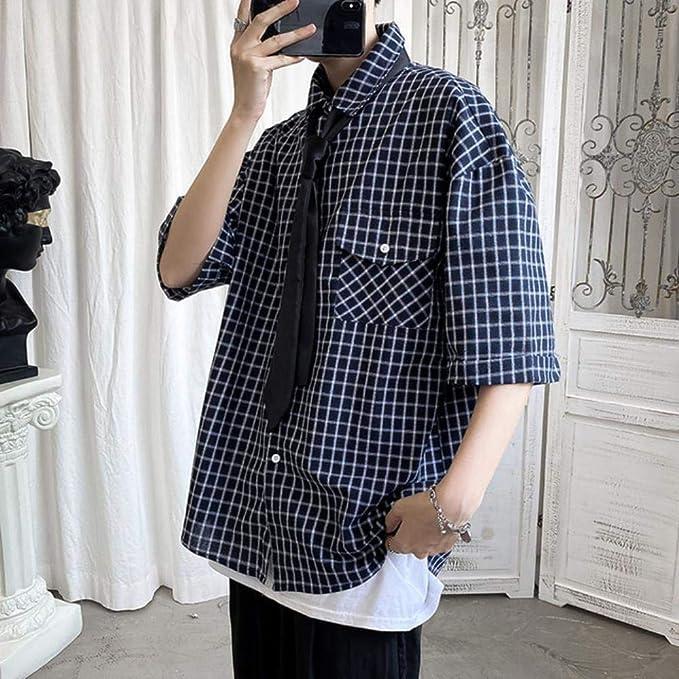 Mrytiuoperg Camisa de manga corta suelta para hombre, estampado a cuadros, rojo, caqui, azul marino: Amazon.es: Ropa y accesorios
