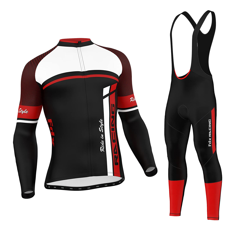 FDX Enganliegende Fahrradbekleidung Für Herren, Set aus Thermo-Oberteil Mit Leggins Im Latzhosen-Stil