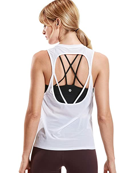 CRZ YOGA Mujer Yoga Camiseta de Malla Sin Mangas de Fitness ...