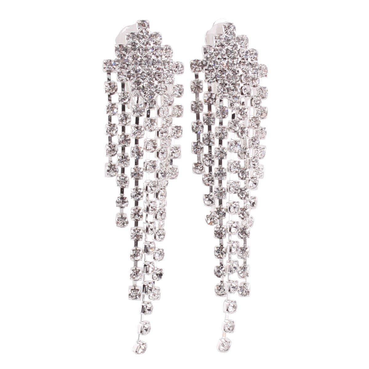 Grace Jun™ Silver Plated Rhinestone Clip on earrings for Women Fashion Long dangle Tassel Earrings China XHEJ103