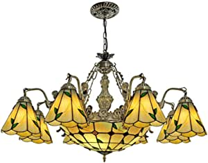 Pastoral Leaves Stained Glass Chandelier for Living Room, Tiffany Style Vintage Hanging Pendant Lamp for Bedroom Dining Room Stairs Decoration Ceiling Lighting Fixture, 110-240V, E27,8 Head