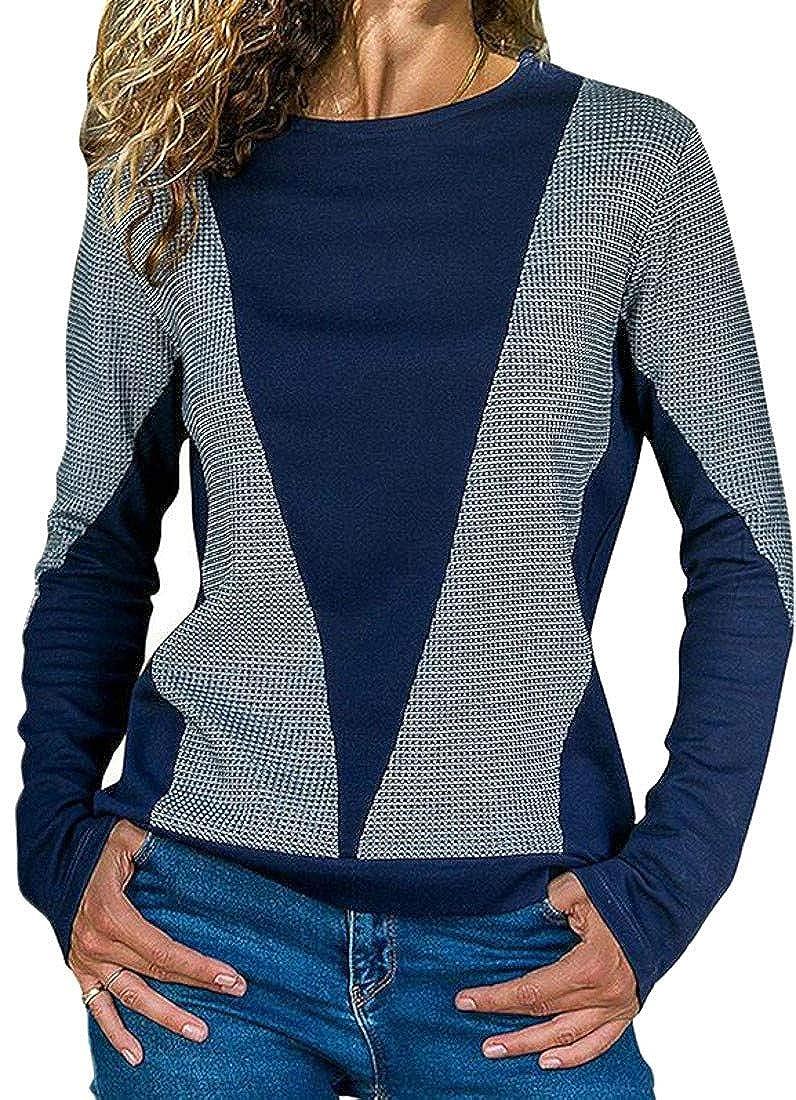 Cromoncent Women Autumn Casual Long Sleeve Round Neck Contrast Color Sport Pullover Sweatshirt