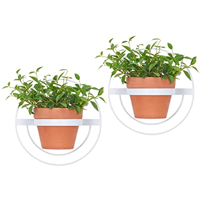 Mkono 2 Pcs Wall Planter, Round Metal Flower Pot Ring Modern Hanging Plant Pot Holder Geometric Bracket Wall Decoration, Fits 6 Inch Pot, White (Planter NOT Included): Garden & Outdoor