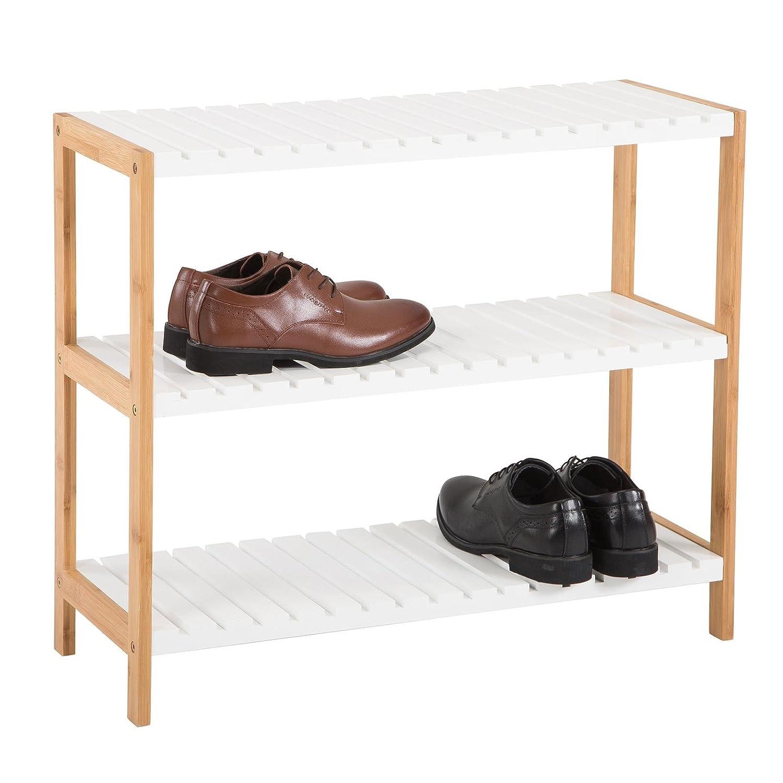 IDIMEX Etag/ère /à Chaussures Abilene en Bambou avec 3 tablettes Rangement pour 12 Paires Coloris Blanc et Finition Naturelle