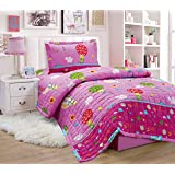 Compressed Comforter 3 Piece Set For Kids Single Size By Moon, Animals Cartoons, Pink, Mixed Material