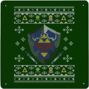 Christmas Zelda Hylian Shield Knit Tin Sign Metal Iron Wall Painting Sign Retro Porch Hanging Warning Sign House Wall Decoration Signboard