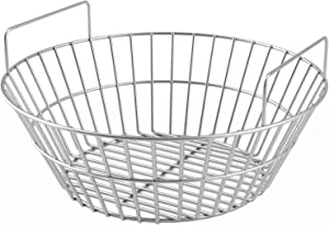 SHINESTAR Charcoal Ash Basket for Large Big Green Egg Grill, Kamado Joe Classic, Primo Kamado Grill, and Large Grill Dome, Heavy Duty Stainless Steel