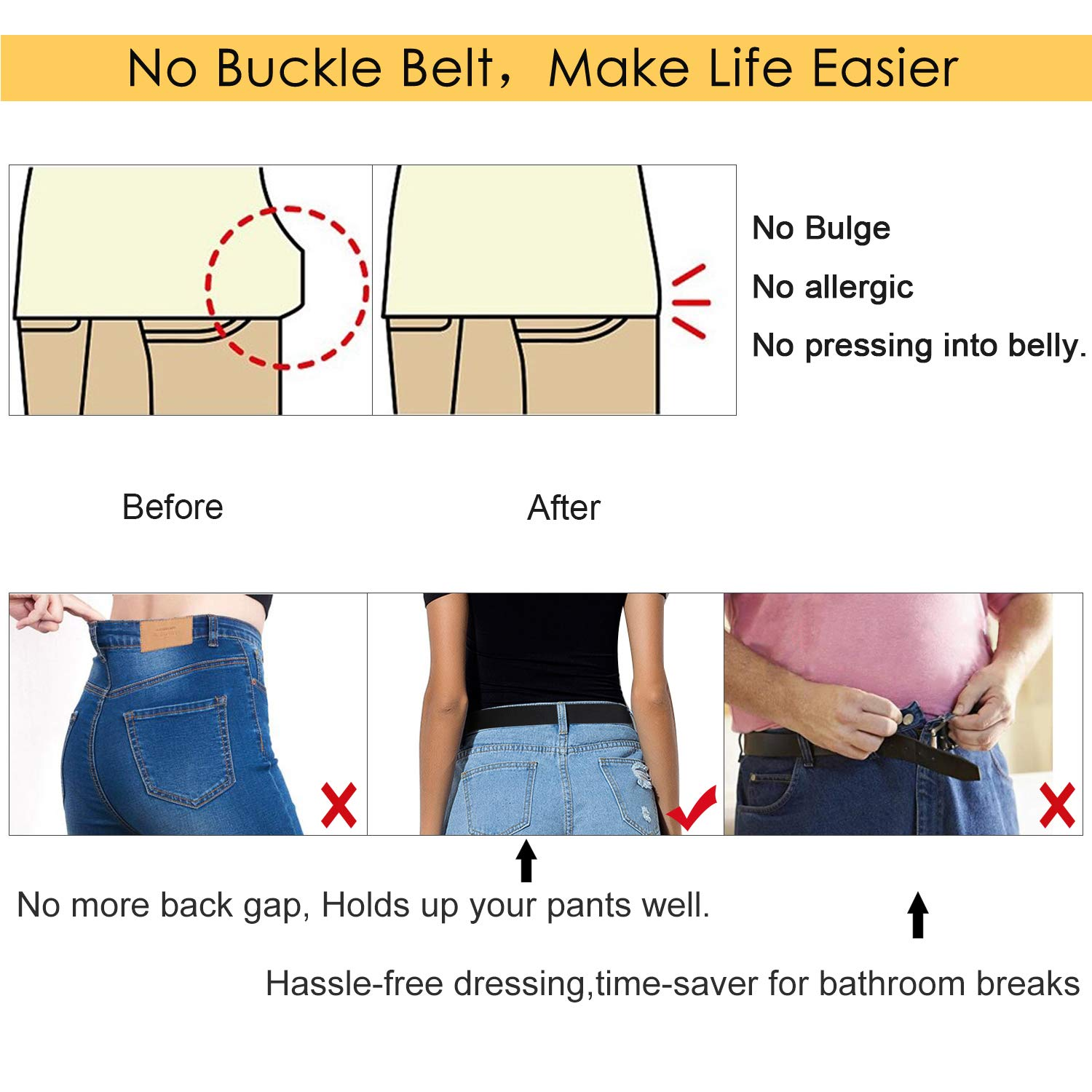 3pcs Women Men No Buckle Belt Invisible Buckle-Free Stretch Belt Ladies Elastic Adjustable Belt No Bulge Belt Stretch Waist Belts for Jeans Trousers