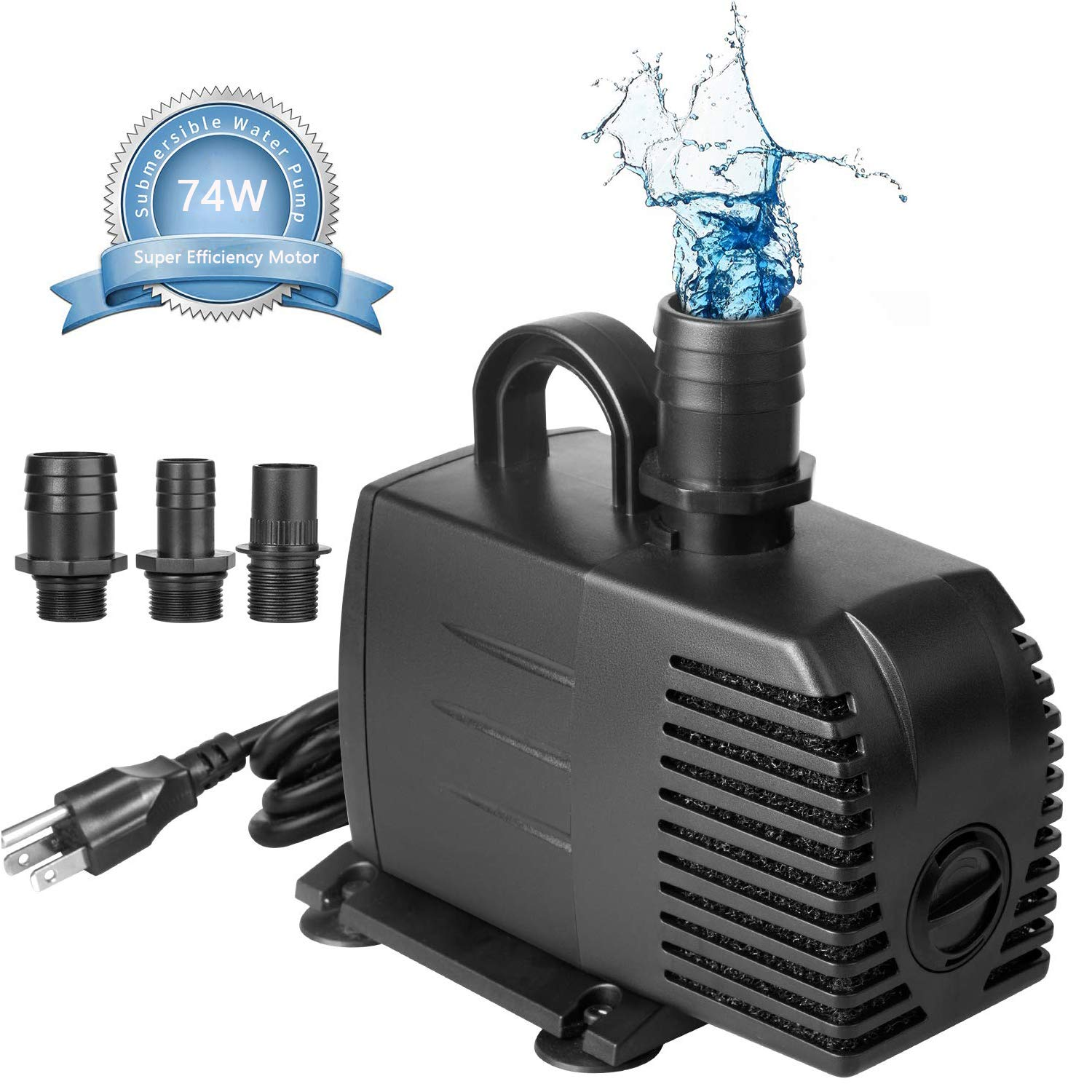 AsFrost 600GPH Submersible Water Pump, Fountain Pump with 9.5ft High Lift, Ultra Quiet 74W Outdoor Fountain Water Pump with 6.2ft Power Cord, 3 Nozzles for Aquarium, Fish Tank, Pond, Hydroponics  by AsFrost