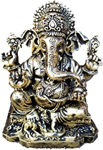 "RK Collections 6.25"" Lord Ganesh/Ganesha Statue Sculpted in Great Detail and Hand Painted in Antique Bronze Finnish - Ganesh Idol for Car/Home Décor/Mandir Gift. (Antique Brone Finish)"