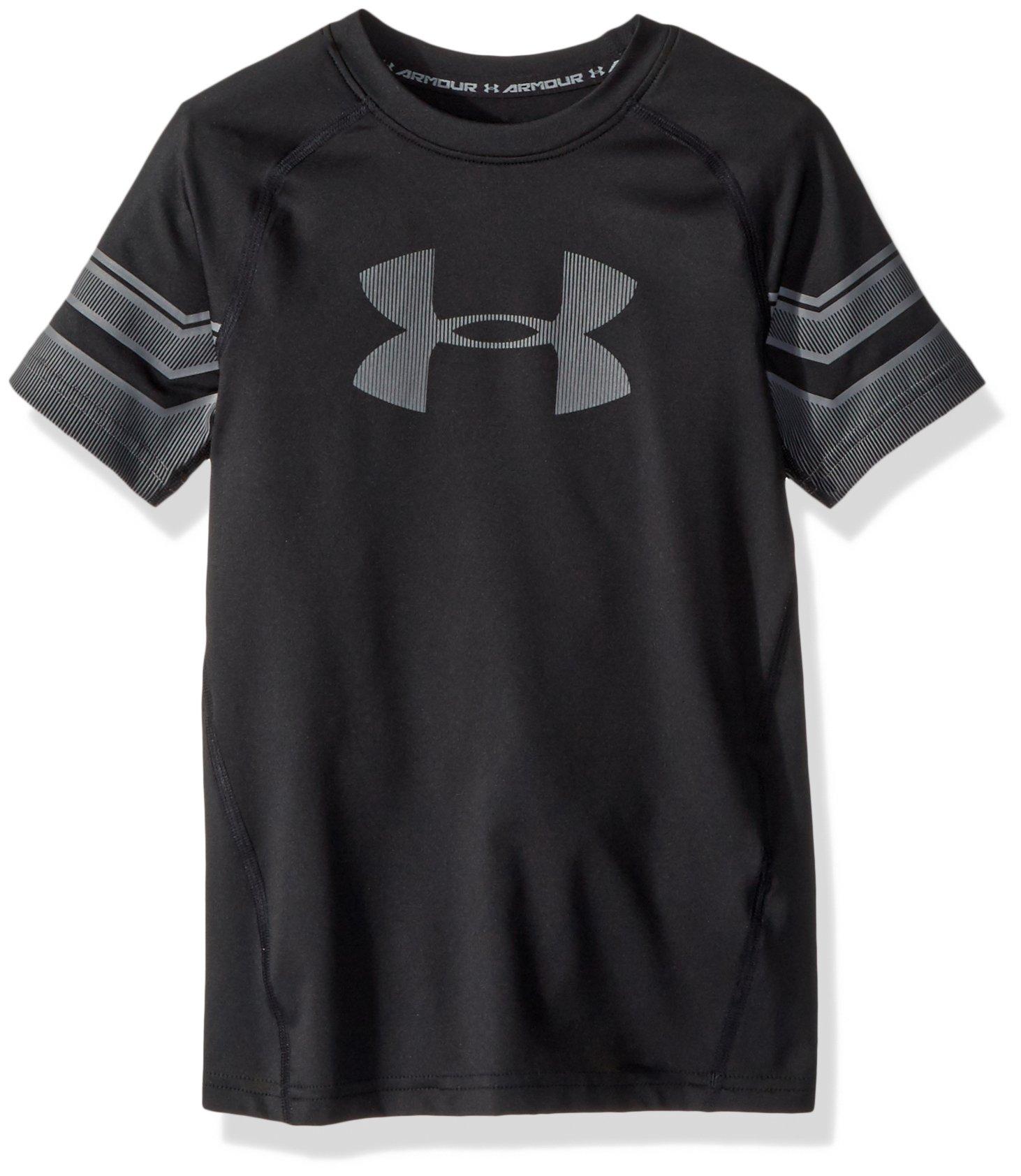 Under Armour Boys Graphic Short sleeve, Black/Graphite, Youth Medium