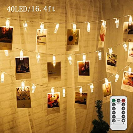 Amazon.com: Twinkle Star 40 - Guirnalda de luces de fotos ...