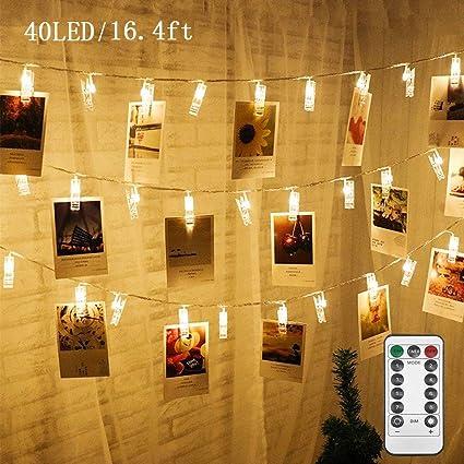 Amazon.com: Twinkle Star 40 - Guirnalda de luces de fotos ...