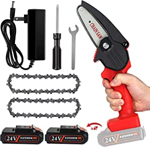 Mini Chainsaw, AUSHEN 4-Inch Cordless Battery Operated Chainsaw Portable Chain Saw, One-Hand Operation Pruning Shears Chainsaw for Tree Branch Trimming Wood Cutting Gardening (2 Batteries and 2 Chain)