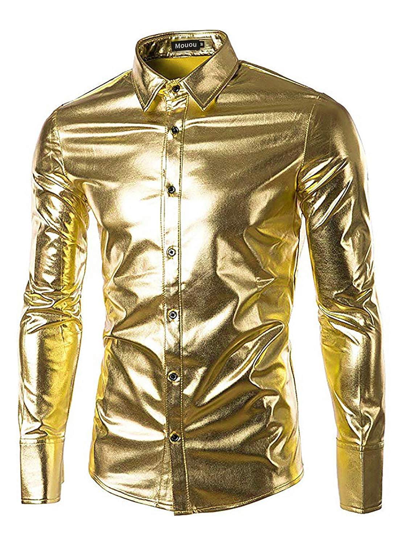 Mouou Men's Shiny Metallic Nightclub Disco Slim Fit Top Short Sleeve Button Down Party Performance Costume T-Shirts