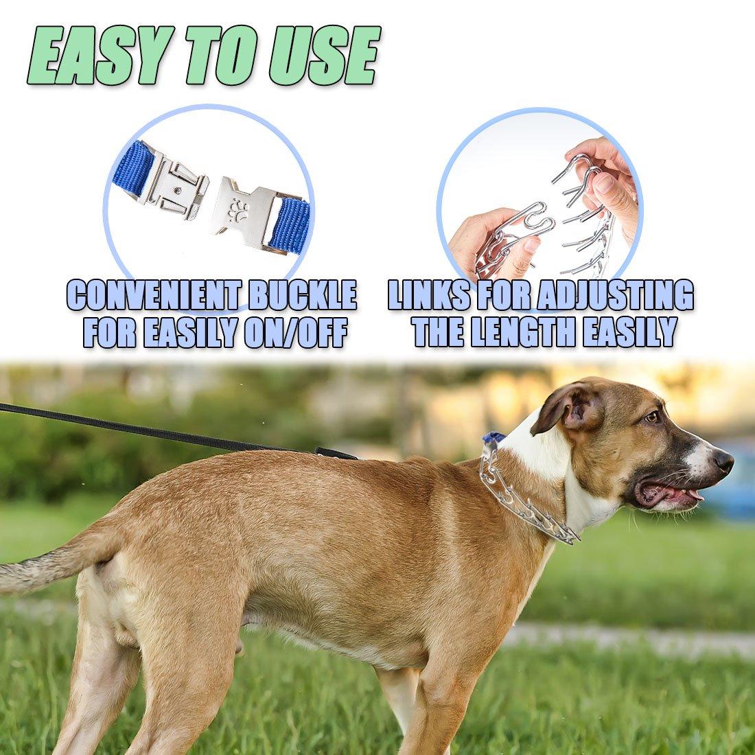 DEYACE Dog Prong Collar Training Metal Gear Pinch Collar for Dogs ...