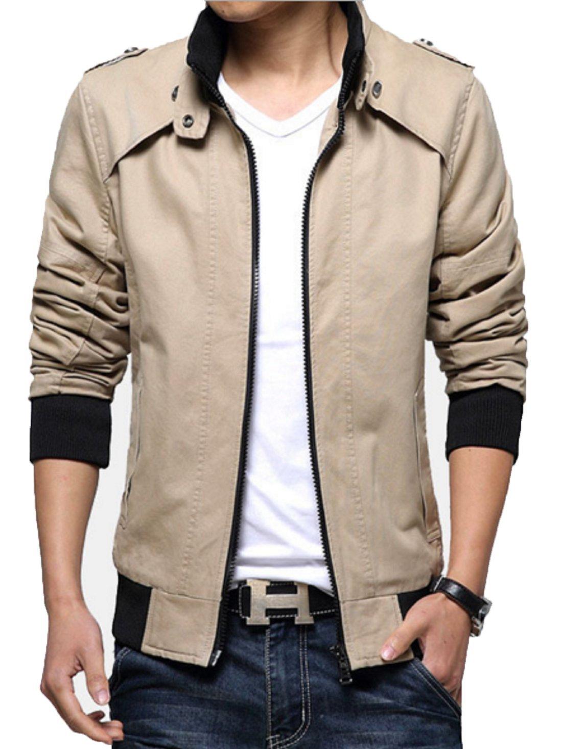 KIWEN Men's Cotton Slim Fit Outwear Coat Jacket(Khaki,XS Size) by KIWEN