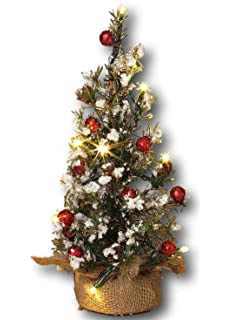 18 lighted snowy pine christmas holiday tree with pinecones and berries and burlap base