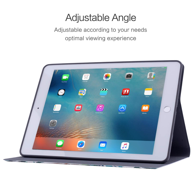 iPad 9.7 2018/2017 Case, iPad Air 2, iPad Air Case, Vimorco Soft TPU Back Cover, Bump Drop Resistance Folio Leather Case, Adjustable Stand Auto Wake/Sleep Smart Case (Bloom Alba)