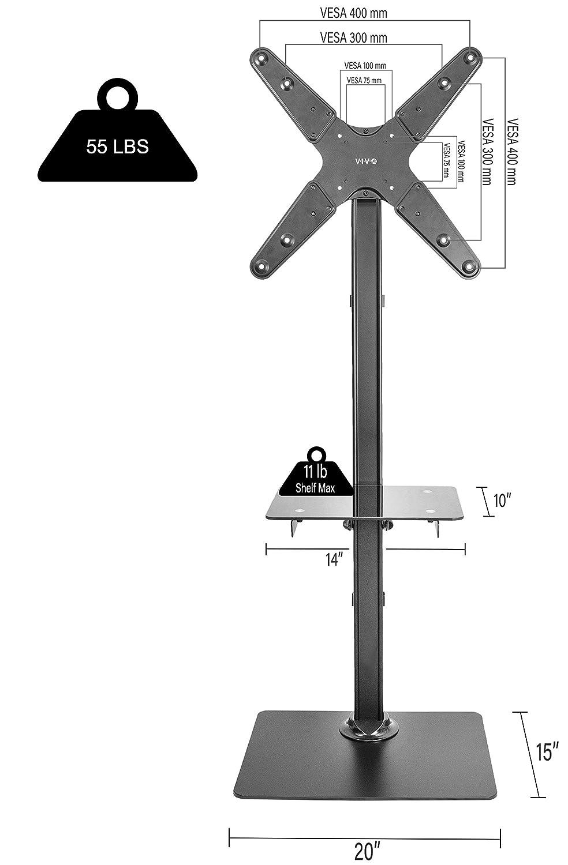 Amazon.com: VIVO Black Steel And Glass Shelf TV Presentation Floor Stand LCD  LED Plasma Flat Screen Stationary Mount Fits 13